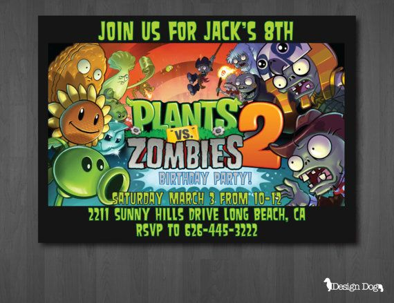 Plants Vs Zombies 2 Birthday Invitation By Thedesigndog On