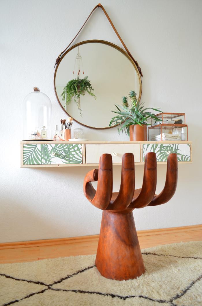 diy schminktisch mit schubf chern im tropical style diy tropical vanity table make it boho. Black Bedroom Furniture Sets. Home Design Ideas