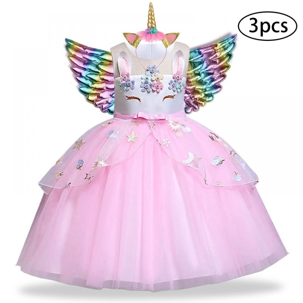 Wing Girl Kid Christmas Unicorn Cosplay Costume Tutu Dress Headwear 3PCS Set
