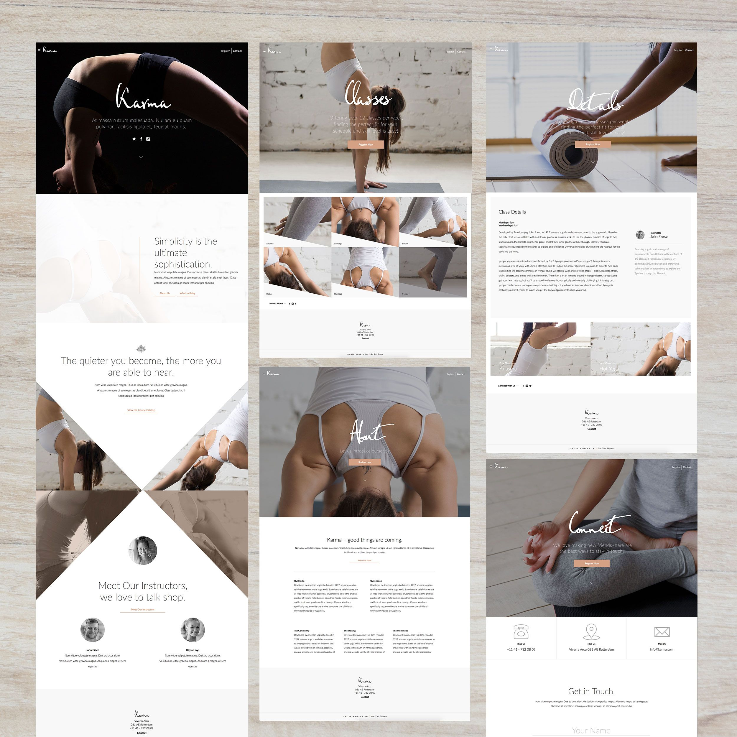 Yoga/fitness studio template for Adobe Muse - from MuseThemes ...