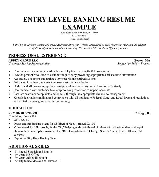 Banking Resume Objective Entry Level -    wwwresumecareer - customer service summary for resume