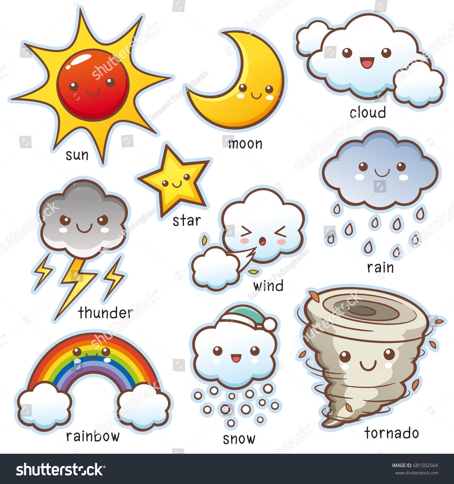Vector Illustration Of Cartoon Weather Set Vocabulary
