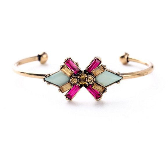 Beautiful Deco inspired cuff in light aqua, pink and gold.