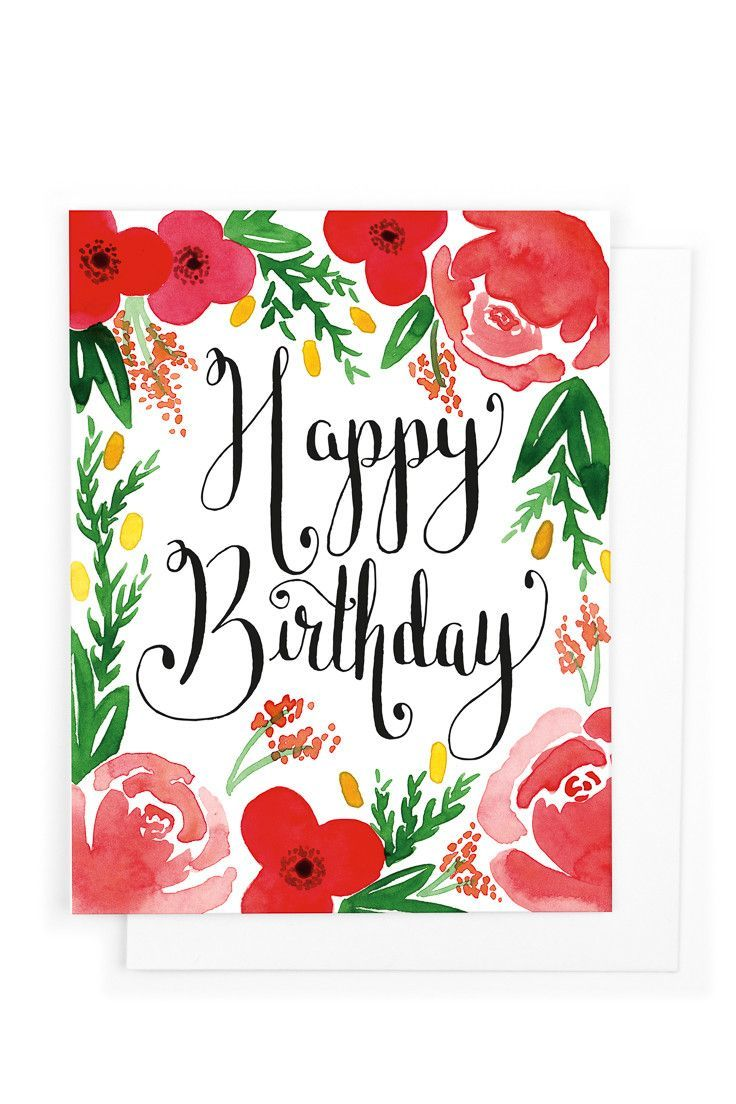 Red Floral Birthday Birthday Card Pretty Flowers Envelopes And Flower