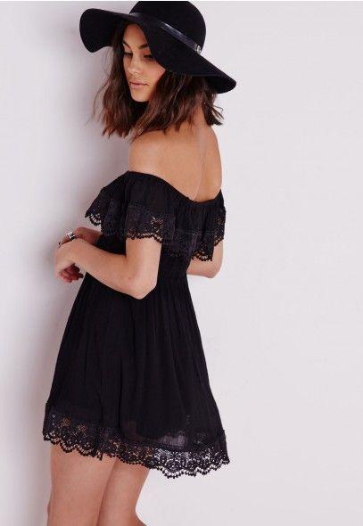Cheesecloth Crochet Trim Bardot Skater Dress Black - Dresses - Skater Dresses - Missguided | Ireland