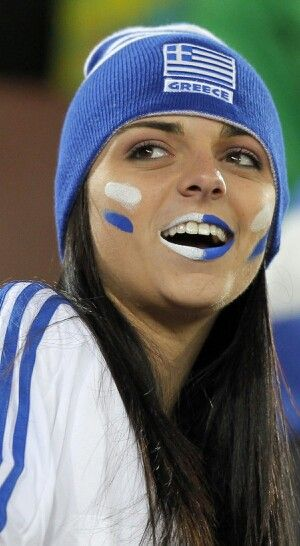Greek sports fan - could be finnish as welll, if you just changed the flag- same colors!