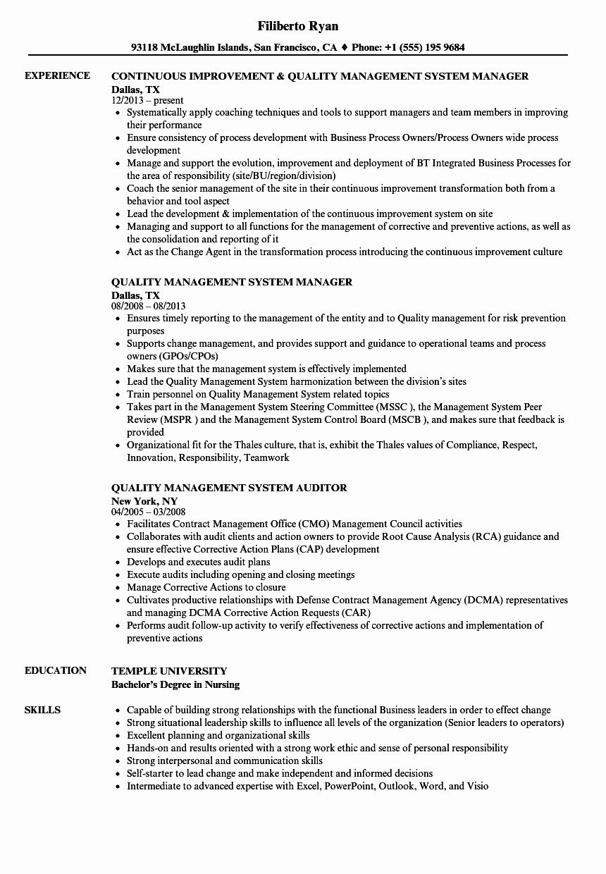 Quality Control Resume Examples Fresh Quality Management