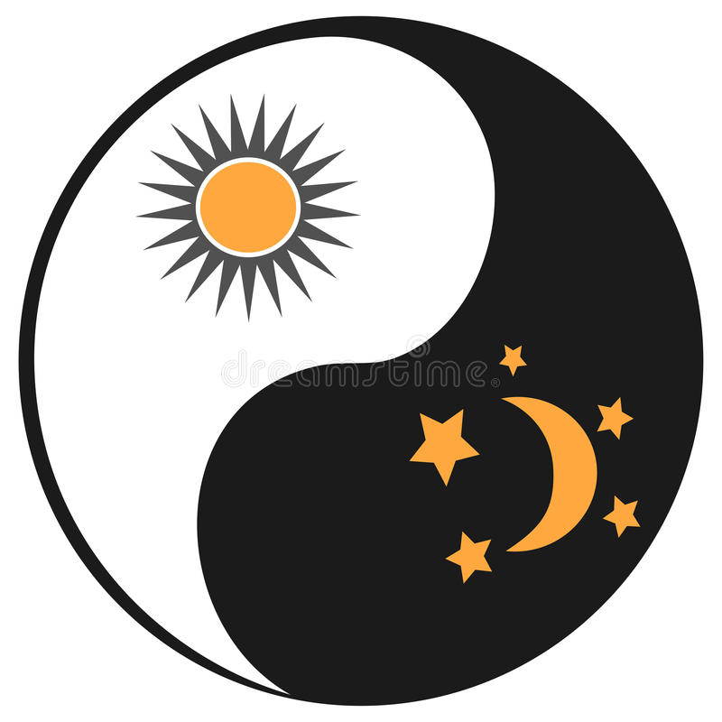 Sol Y Luna En La Ilustracion De Vector De Simbolo De Ying Yang Mandala Attrape Reve Mandala