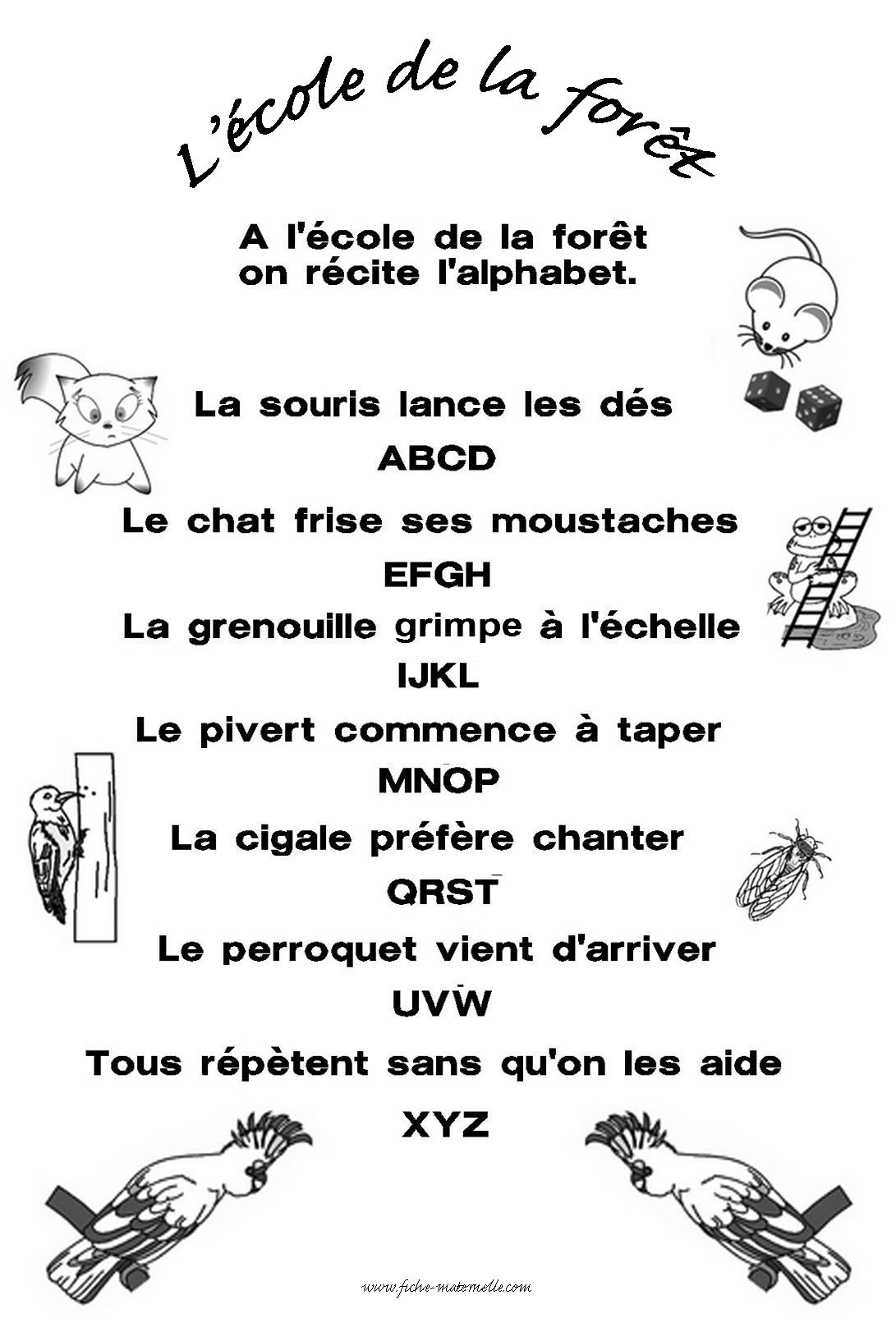 A l cole de la for t on r cite l alphabet comptines - Alphabet francais maternelle ...