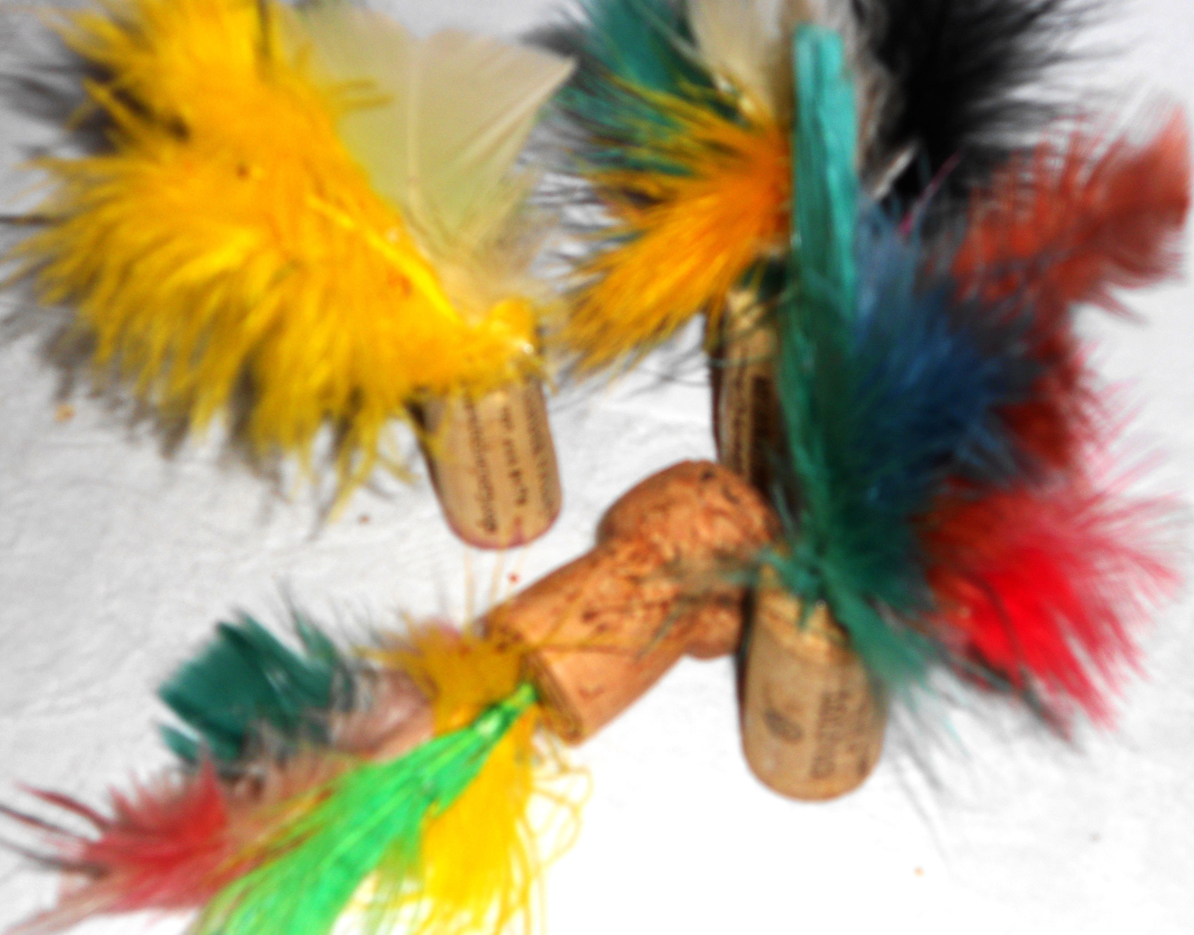 Cat toys made from wine corks, glue and feathers. Keep in sealed tin with catnip. Cats love them!
