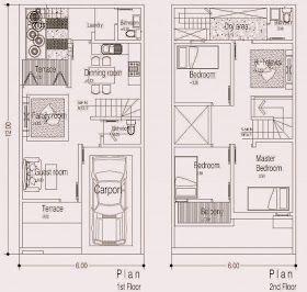 Desain Rumah Minimalis 2 Lantai Diatas Tanah 6x12 M2 Denah