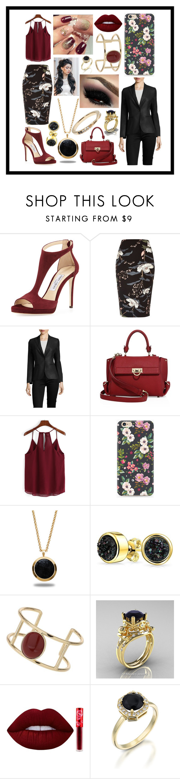 """Simply Feeling Like A Bawse"" by sodenoshirayuki-kuran ❤ liked on Polyvore featuring Jimmy Choo, River Island, MaxMara, Salvatore Ferragamo, Marlin Birna, Bling Jewelry, Miss Selfridge, Lime Crime and Elizabeth and James"