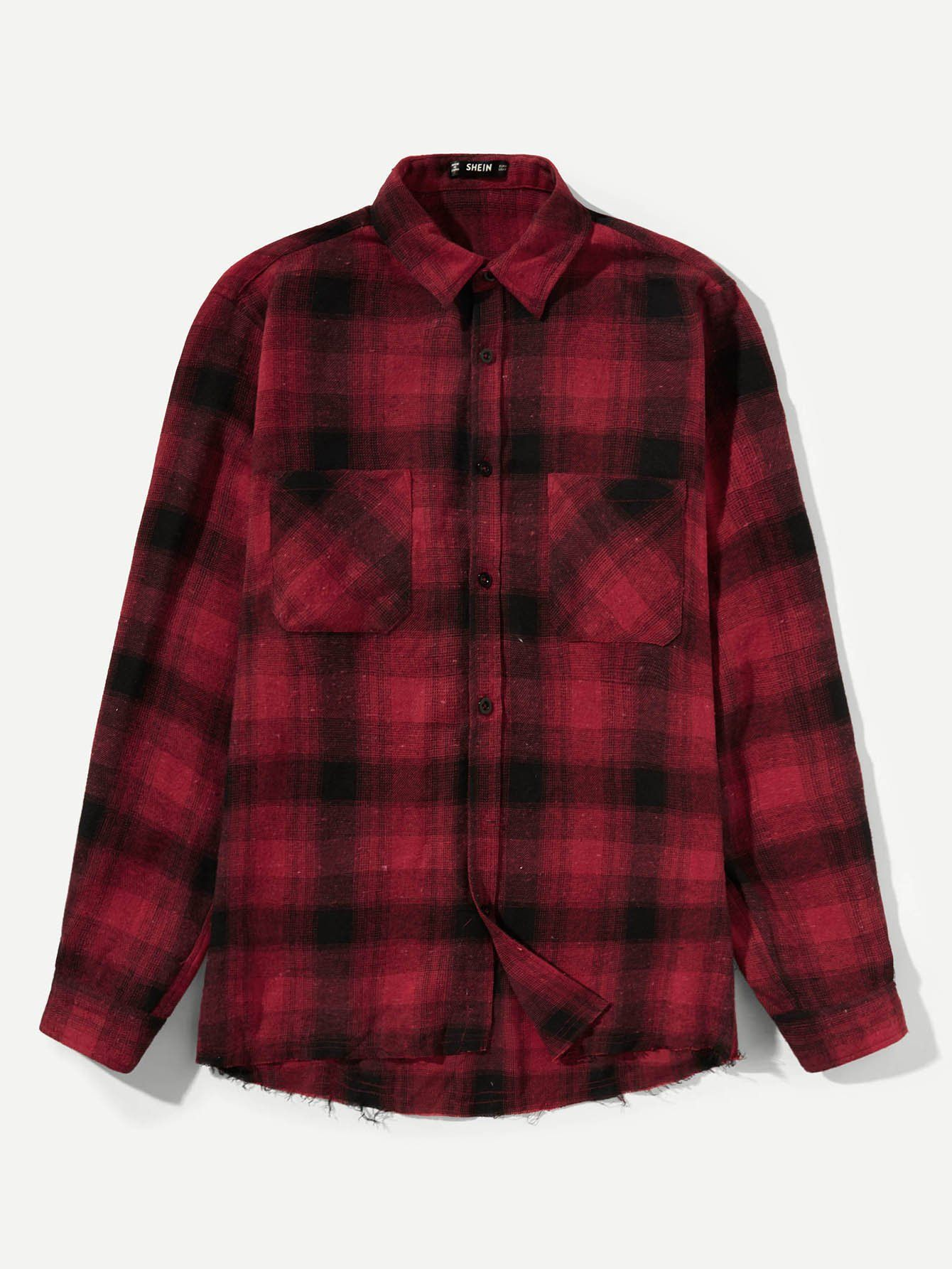 225123b307 Men's Pocket Patched Red & Plaid Print Shirt FREE SHIP | Products ...