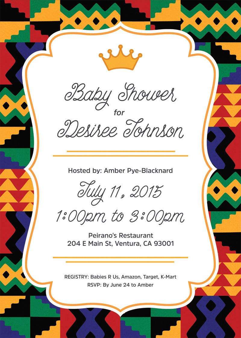 An African Prince Baby Shower Invite Inspired By Kente Cloth.