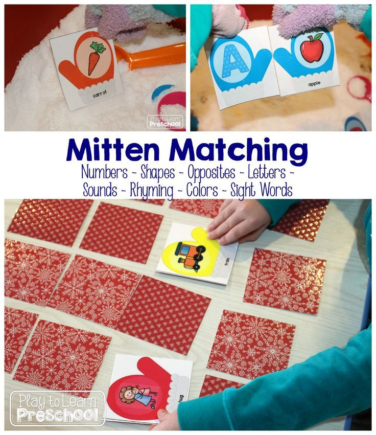 Mitten Matching - 8 sets of cards to practice numbers, shapes, colors, opposites, letters, sounds, rhyming and sight words from Play to Learn Preschool
