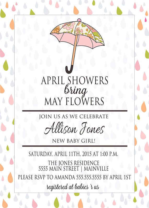 April Showers Baby Shower Invitation Digital By Paperlanedesign