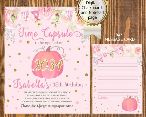 Buntings Pink Pumpkin First BIRTHDAY TIME CAPSULE Board and Message Card, Watercolor Pink Pumpkin Time Capsule, Chalkboard & 5x7 Note