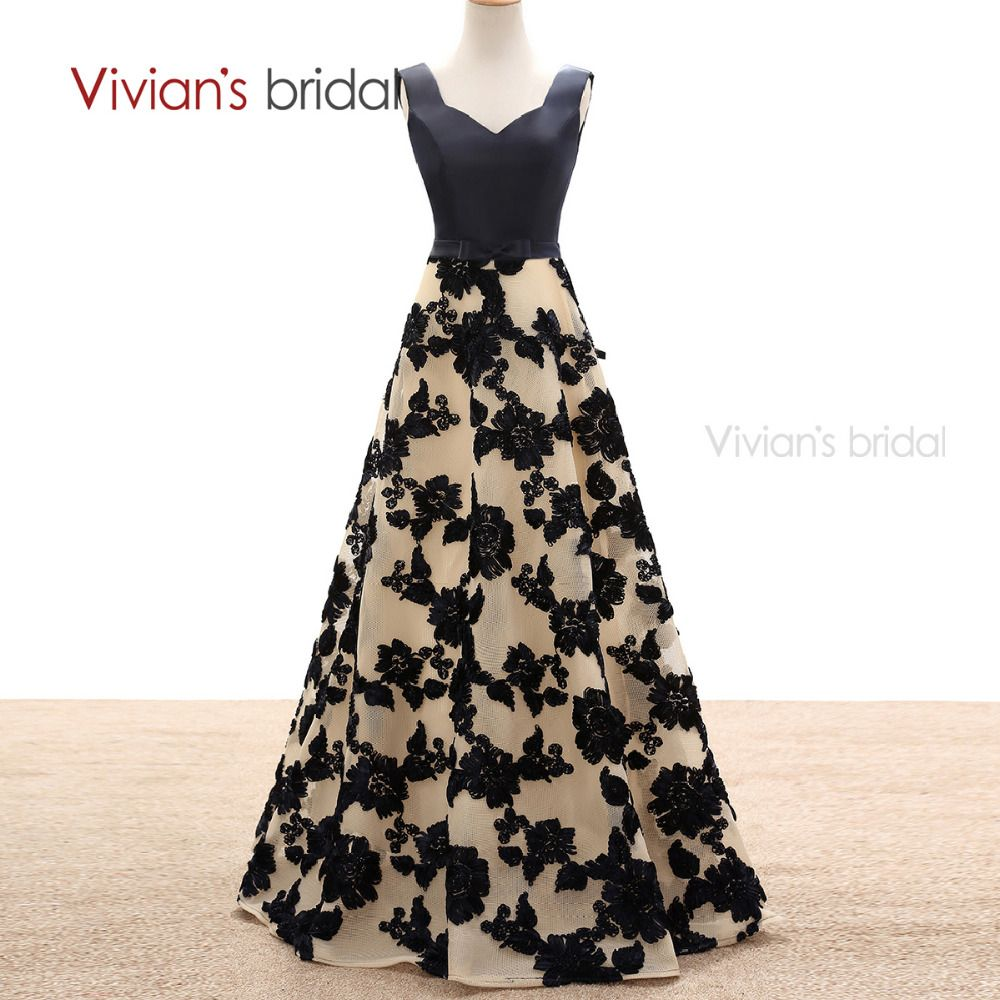 Dress for wedding evening party  Vivianus Bridal A Line Evening Dresses Satin Flower Lace Long Formal