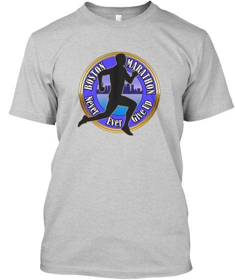 Boston Marathon Strong Runners T Shirts Light Steel T-Shirt Front