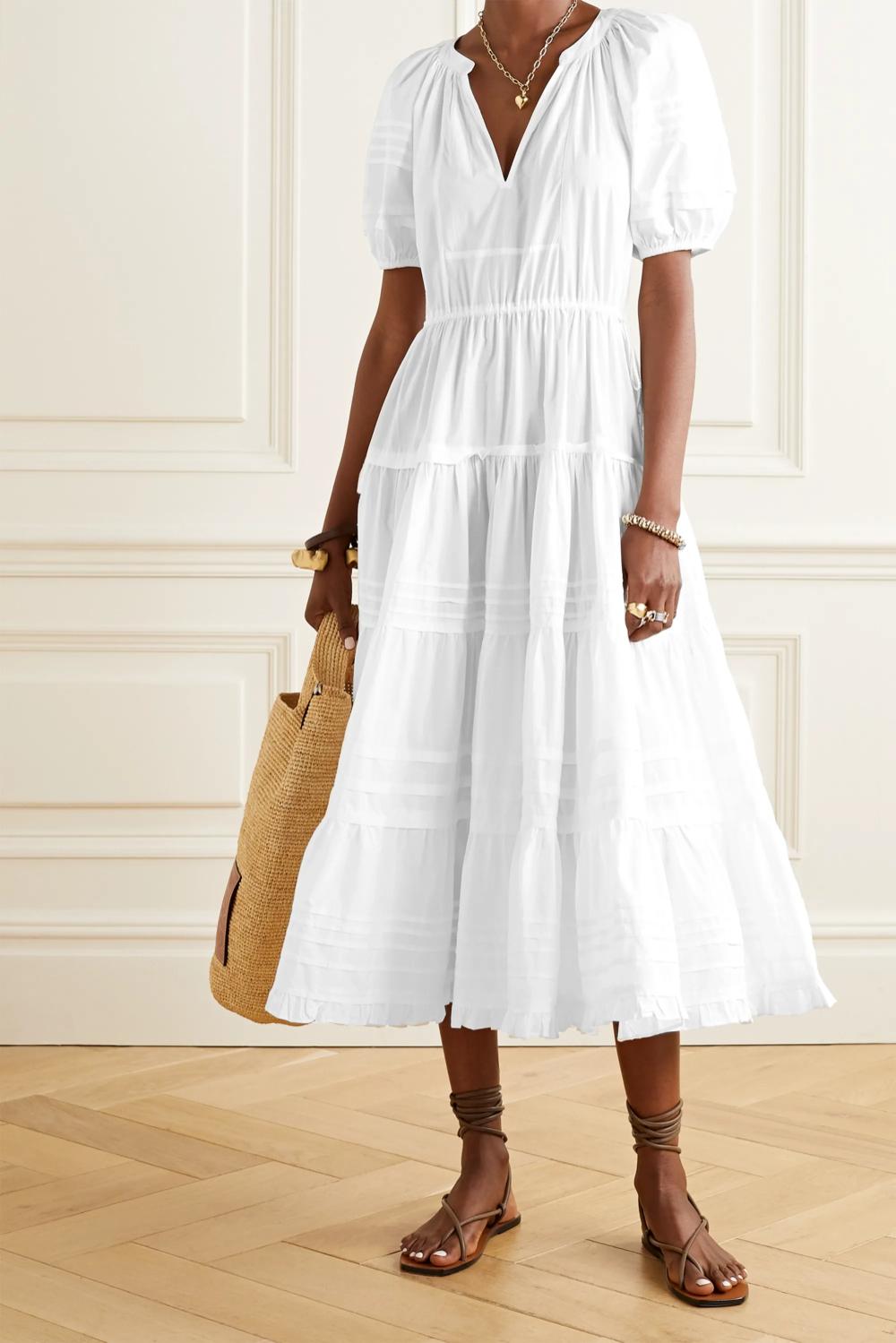 White Claribel cotton poplin midi dress   Ulla Johnson   NET A ...