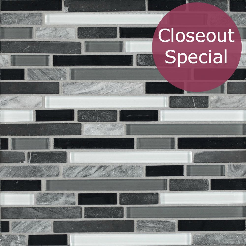 Stone Glass Linear Nero Marquina Marble And Gray Glass Mosaic Clearance Price 7 89 Sq Ft Stone Mosaic Tile Stone Mosaic Glass Mosaic Tiles