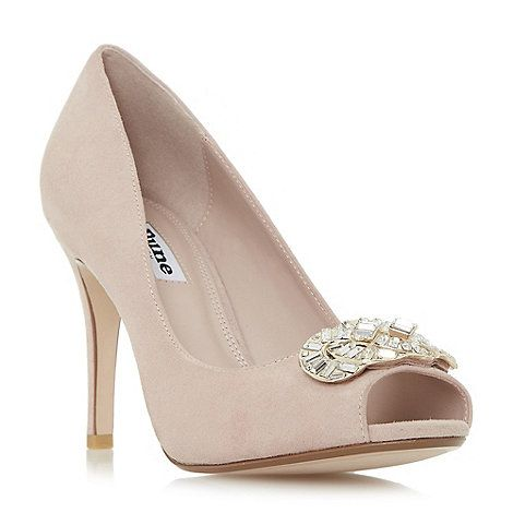 Dune Light pink 'Dolley' jewel trim peep toe court shoes