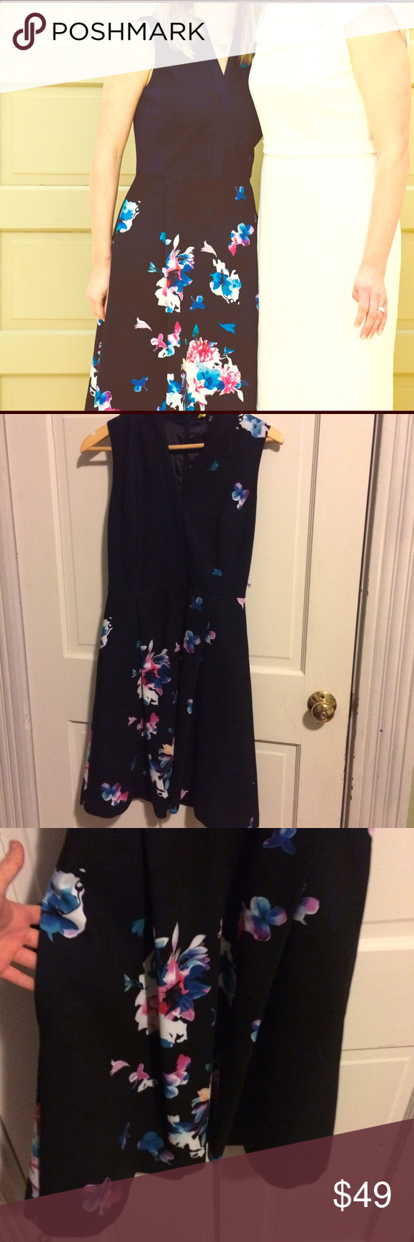 "Navy Ellen Tracy Floral Print Fit&Flare Navy stretch crepe dress with bright blossoms & black shadows, with side swam pockets! The best. Worn only once! 38 1/2"" length. True to size. Ellen Tracy Dresses"