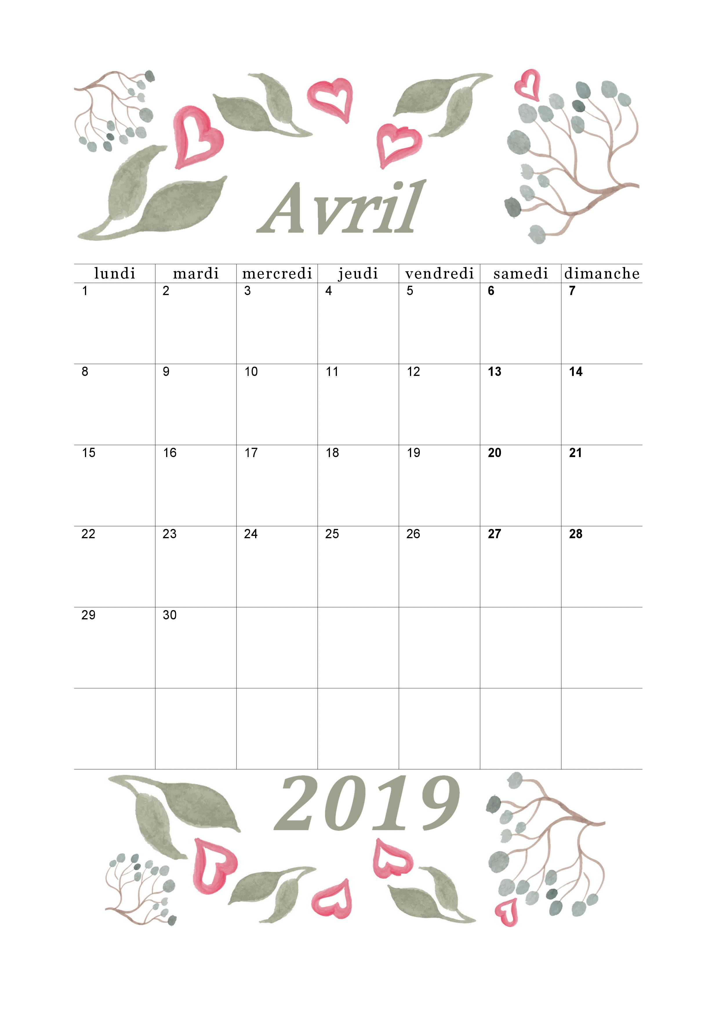 Calendrier avril 2019 à imprimer   calendriers imprimables PDF