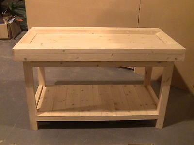 Hand Crafted Old School Style Wood Work Bench Carpenters Woodworking
