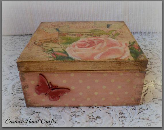 Vintage style wooden tea boxbutterfly boxpolka by CarmenHandCrafts, €23.00