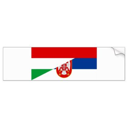 Country hungary serbia flag country half symbol bumper sticker