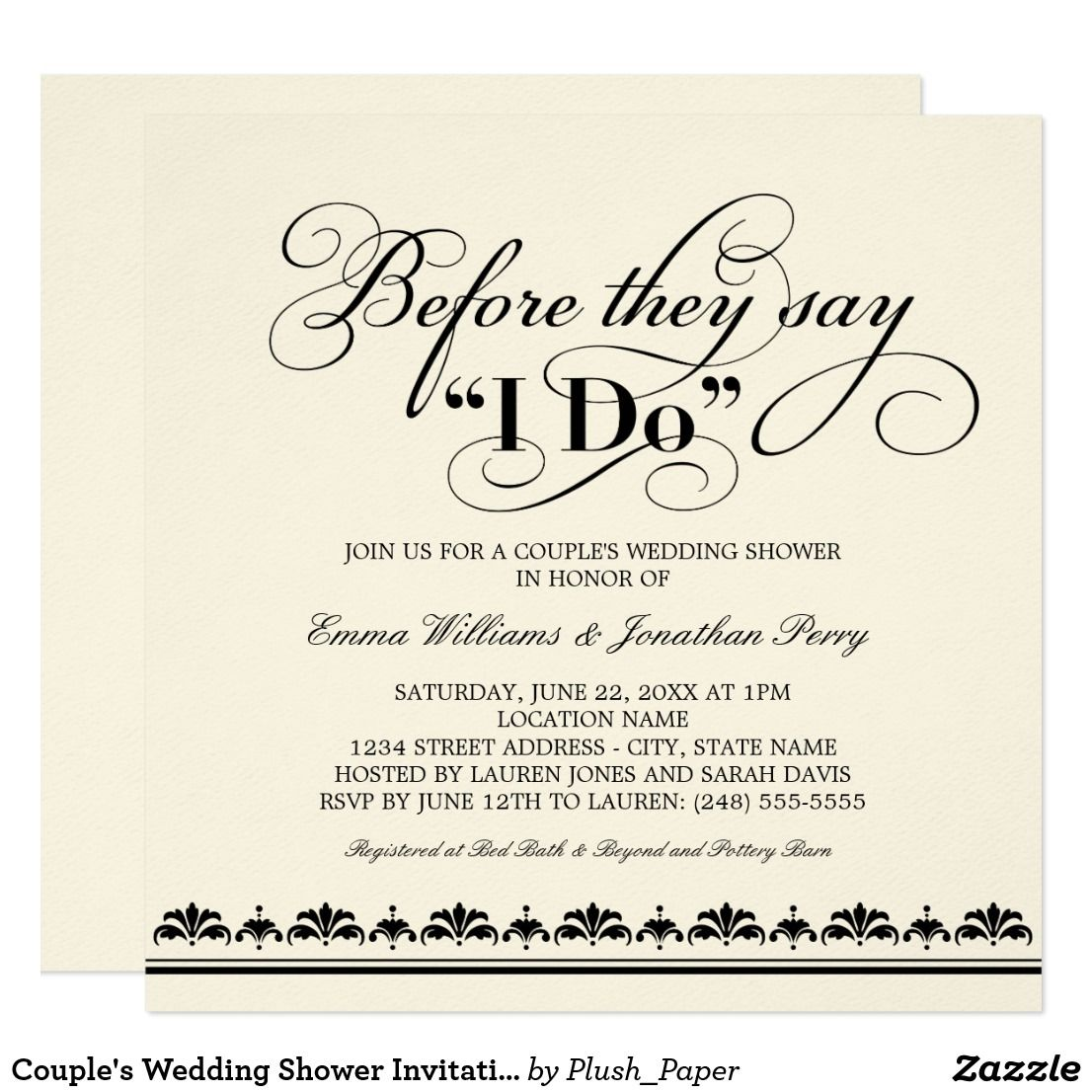 couples wedding shower invitations by plush paper design