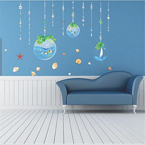 fish sea cartoon wall sticker for shower tile stickers in the