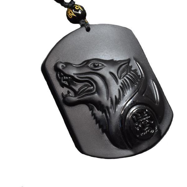 Black Obsidian Wolf Head Engraved Amulet