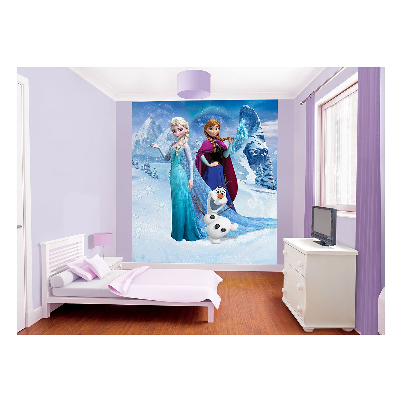 Disney frozen wallpaper mural asda girls 39 room for Disney princess mural asda