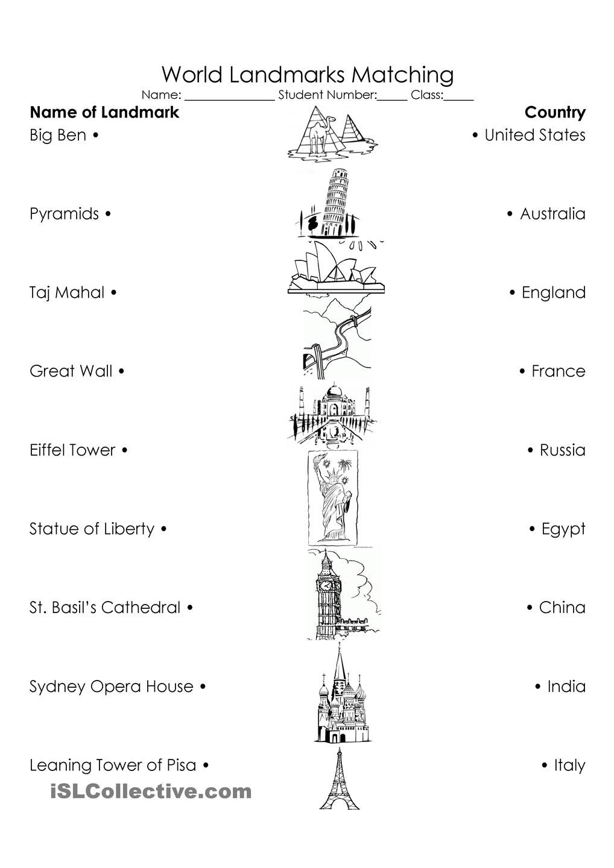World Landmarks Triple Match   Social studies worksheets [ 1440 x 1018 Pixel ]