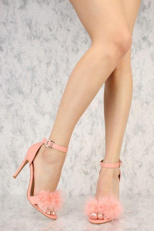 Pink Faux Fur Buckle Ankle Strap Single