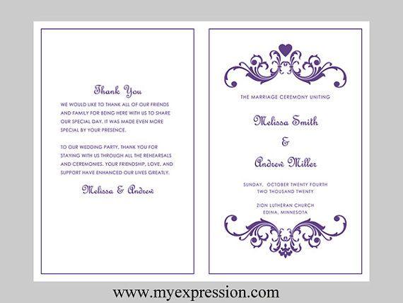 Wedding Program Template BiFold  Purple by MyExpressionShop, $8.95