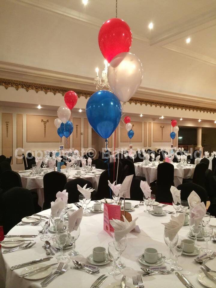 Red White And Blue Balloon Table Decorations Www Balloon World Co Uk Info Balloo Blue Table Decorations Balloon Table Decorations Banquet Table Decorations