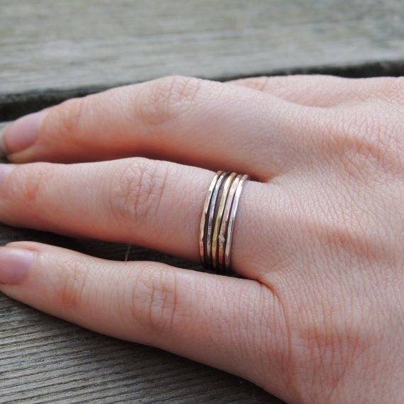 Patinaed Stacking Ring 18g Sterling Silver Minimalist High Stackable Ring Polished Ring Stacking Ring Dainty Ring Stacking Ring