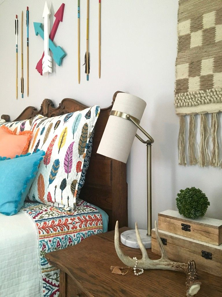 Create The Perfect Boho Chic Teen Girls Bedroom With Colorful Arrow And  Feather Bedding,unique Lighting, Macrame Wall Hangings And Rustic Other  Bohemian ...