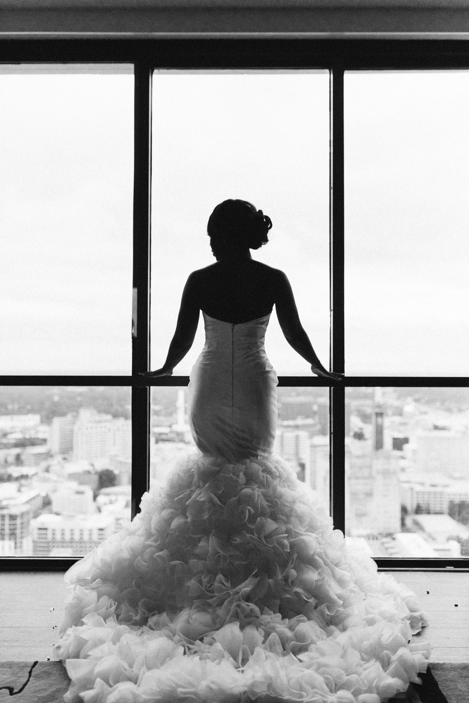 Atlanta City Hall Wedding Ryan Corey Kiyah C Photography City Hall Wedding Bride Silhouette Atlanta City