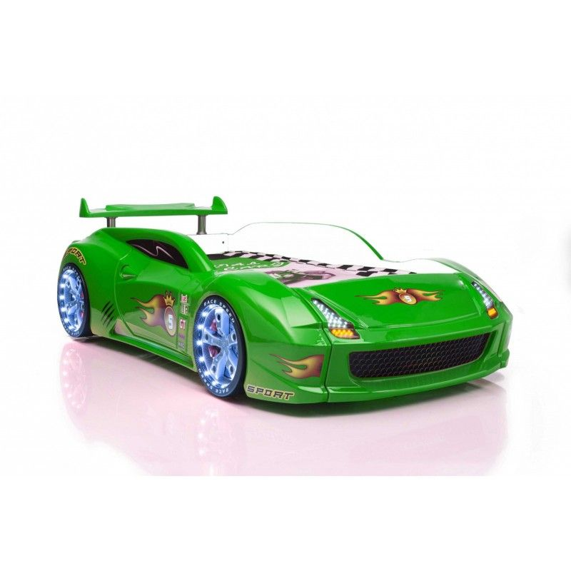 Green Lamborghini Racecar Bed With Led Lights