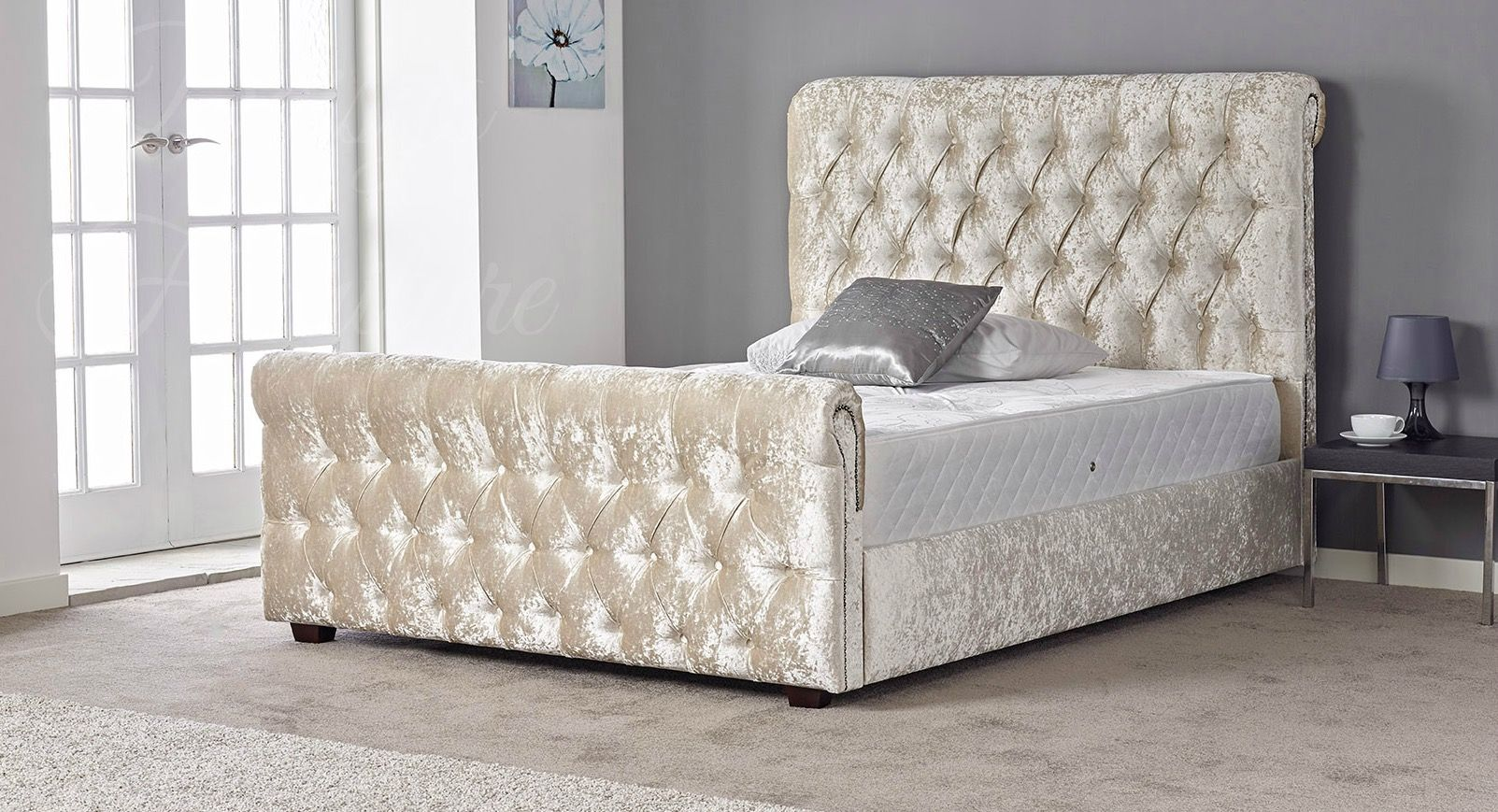 Our beautiful Lacey bed is a stunning crushed velvet sleigh bed ...
