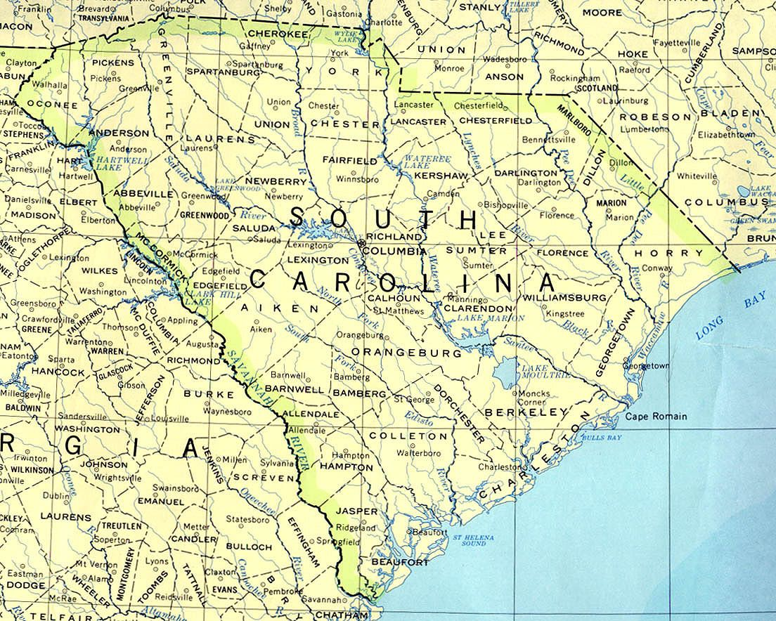 South Carolina State Map Perry Castaneda Library Map Collection