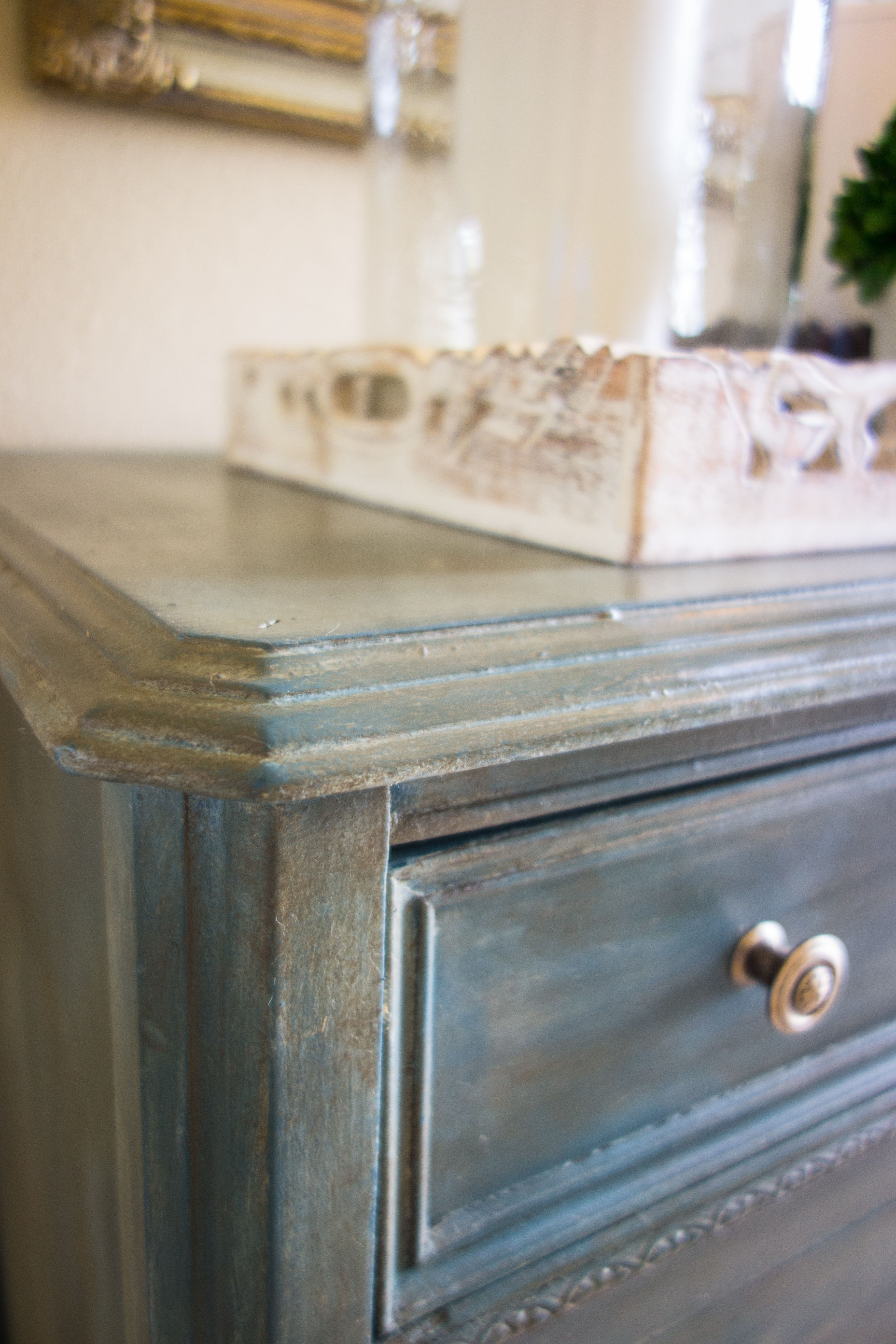 Annie Sloan Aubusson Blue base, Country Grey mixed with clear wax, dark wax topped.