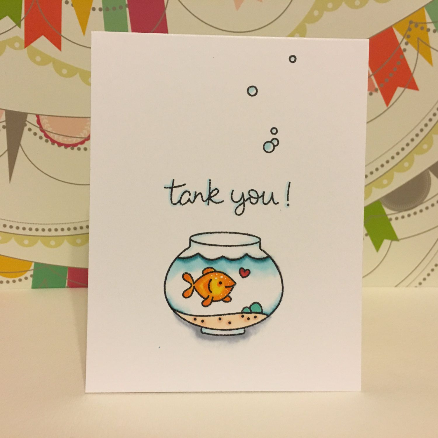 Tank You Punny Handmade Thank You Card Funny Thank You Cards