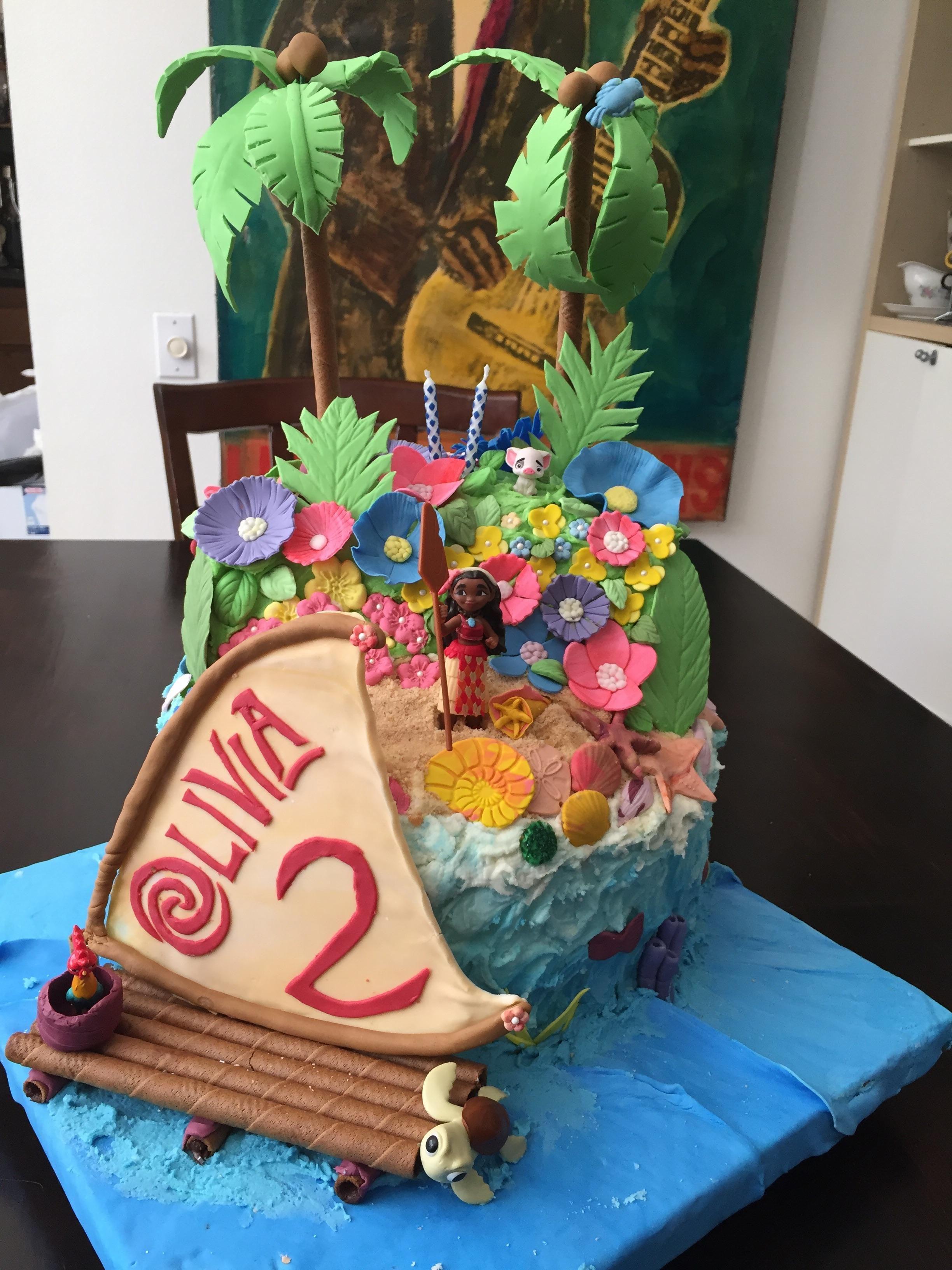 Enjoyable Moana Cake For My Friends 2 Year Old 2 Year Old Birthday Funny Birthday Cards Online Inifodamsfinfo