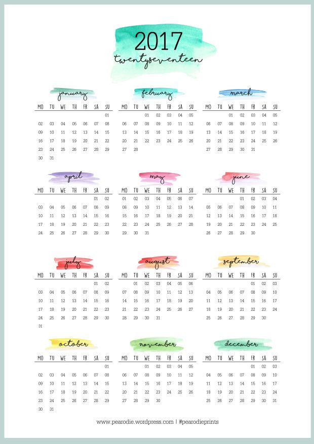Free  Calendar Printables  Free Printable Watercolor And