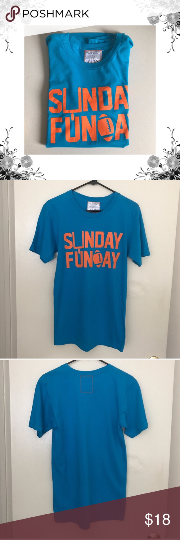 dfdce3e26 {Kid Dangerous} Sunday Funday Graphic Tee NWOT 100% Cotton. Soft graphic tee.  Bright blue with neon orange lettering. Sunday Funday, football!